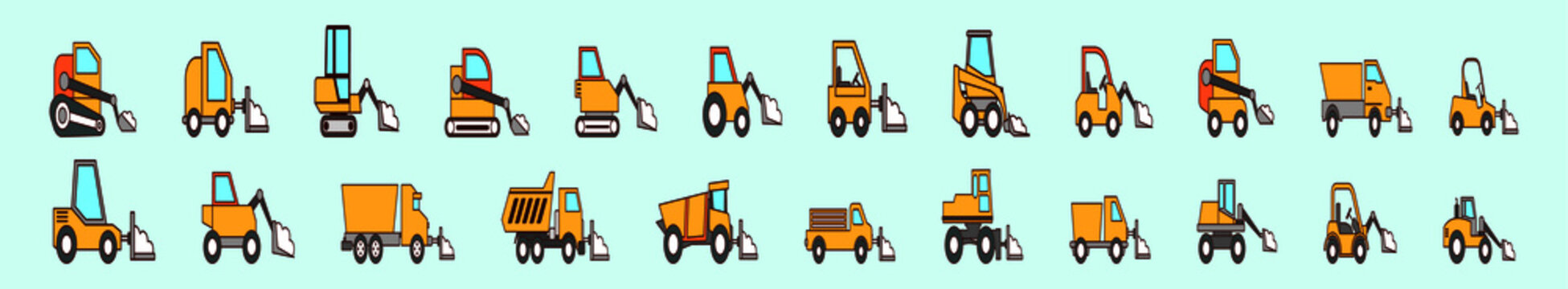 set of snow plow cartoon icon design template with various models. vector illustration isolated on blue background