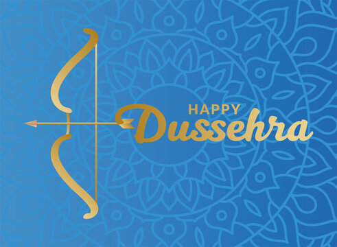 Happy dussehra and bow with arrow on blue mandala background vector design
