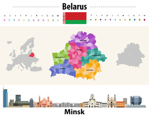 Fototapete - Belarus administrative divisions map. Flag of Belarus. Minsk cityscape. Vector illustration