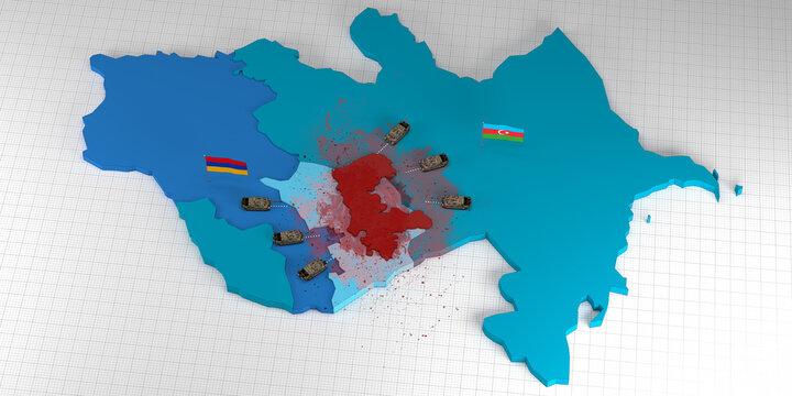 Azerbaijan vs Armenia conflict in Nagorno Karabakh region 3d map illustration render