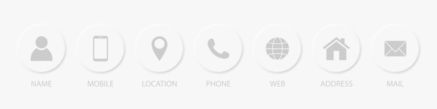 Contact us signs. Location and contact icons. Simple symbols. White color buttons. Neomorphism design. Vector illustration EPS 10