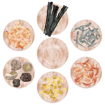 和風出汁の材料を載せた木皿のイラスト