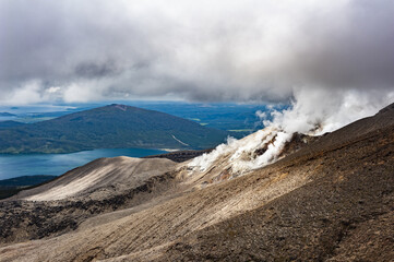 Lake Rotoaira seen from steaming Tongariro volcano in the New Zealand