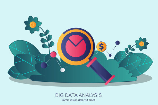 Big data analysis concept in business. Flat vector illustration