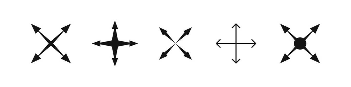 Arrow vector icon with different four dirrections, cross orientation arrows collection on white background.