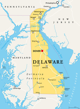 Delaware, DE, political map. State in the Mid-Atlantic region of the United States of America. Capital Dover. The First State, The Small Wonder, Blue Hen State, The Diamond State. Illustration. Vector