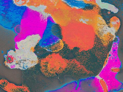 Hand Craft. Cosmic Colorful Print. Artsy Spot.