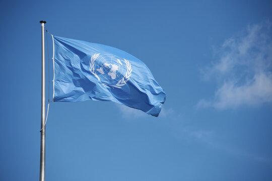 Bonn, North Rhine-Westphalia / Germany - May 14, 2019: Flag of the United Nations on the UN Campus Bonn, Germany