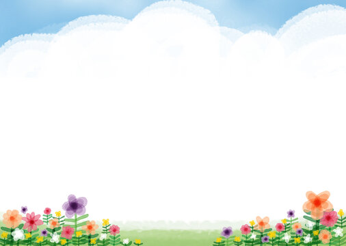 The background is made by utilizing images of clouds floating in the sky and flowers blooming in the meadow. Printable in A3 size.