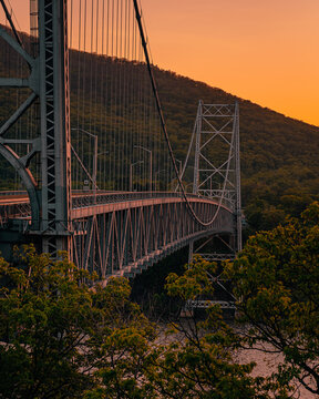 Bear Mountain Bridge at sunset, in the Hudson Valley, New York