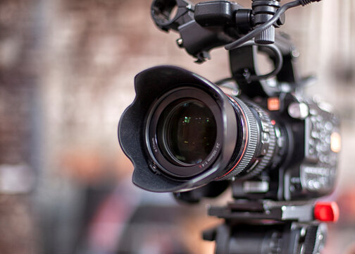 Film industry. detail of Video camera. Broadcasting and Recording with Digital Camera