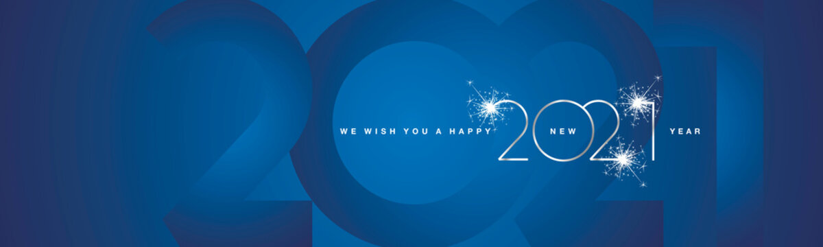 We wish You Happy New Year 2021 modern design silver shining light typography sparkle fireworks 2021 shadow numbers blue banner