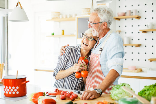 love kitchen senior woman man couple home retirement happy food smiling husband wife together person