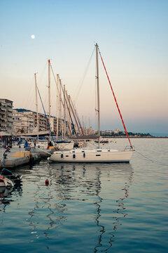 Sailboats in the harbor, Volos Greece city marina
