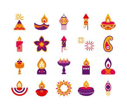 bundle of twenty diwali set flat style icons