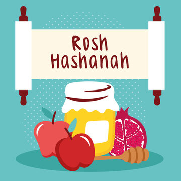 happy rosh hashanah lettering in parchment with honey and fruits