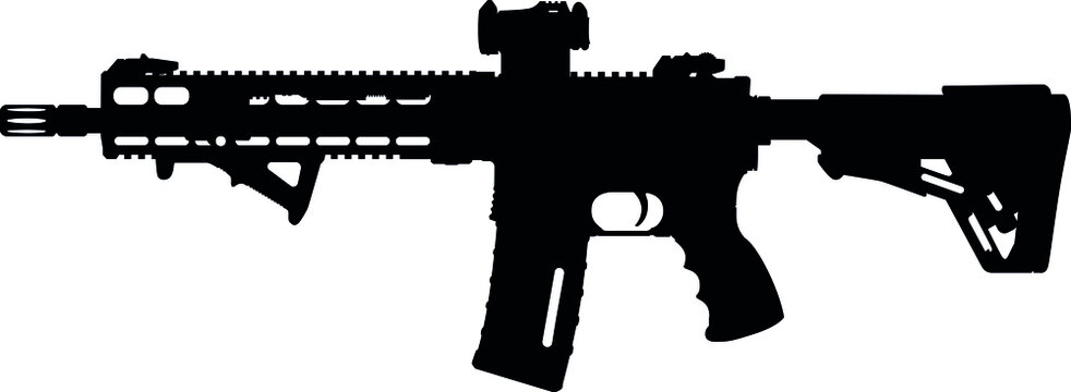 Military of Germany, Armed forces of Germany Haenel MK 556 fully automatic submachine gun, MK 556 submachine gun of Germany, German Bundeswehr. silhouette