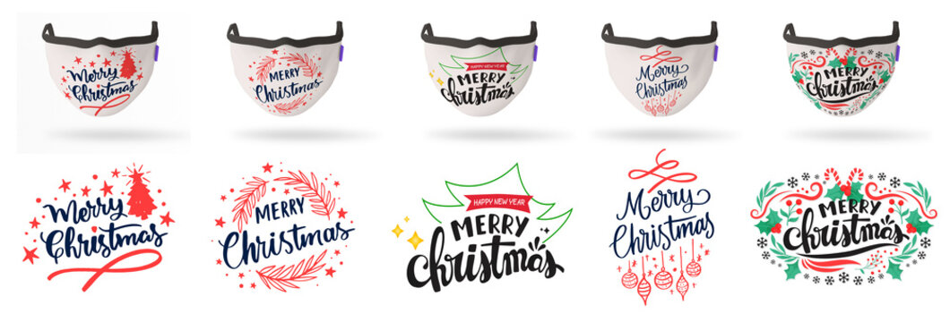 charismas set of colorful funny celebration masks to wear on face so we still can celebrate with new year and also be save from corona virus every mask has it's design under it with big size to print