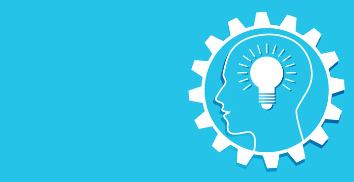 Human head in a gear with ideas as a bulb and brain, vector graphic, icon, symbol