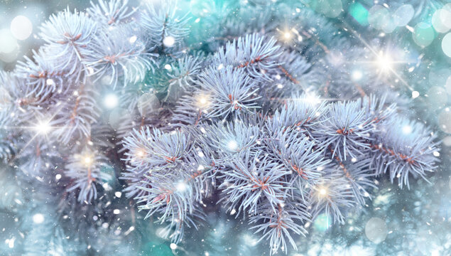 Christmas background,Christmas tree in holiday lights , holiday background with falling snow and glitter.