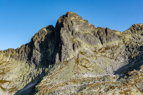 Ostry Szczyt (Ostry stit) - peak seen from the side of the Starolesna Valley (Velka Studena dolina). It is a frequent target for mountain climbers.