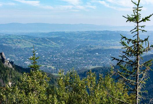 Top view of the city of Zakopane. Poland.