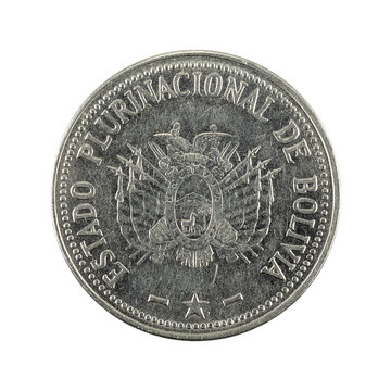 50 bolivian boliviano coin (2012) reverse isolated on white background