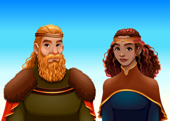 Cartoon portrait of a king and a queen. Vector fantasy illustration