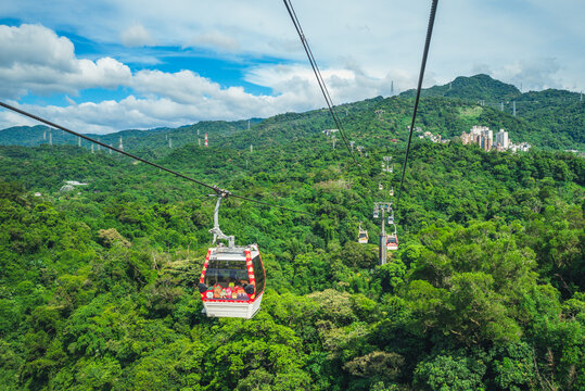 August 18, 2020: Maokong Gondola, a gondola lift transportation system in Taipei, Taiwan. It was opened on 4 July 2007 and operates between Taipei Zoo and Maokong.