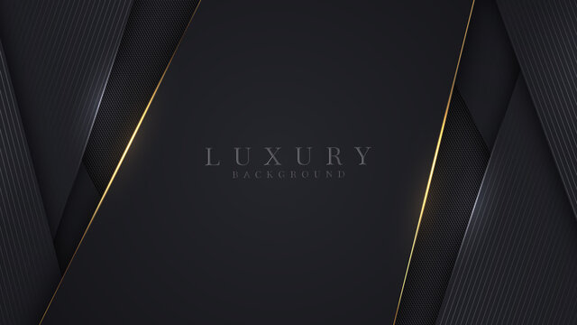 Luxury abstract background, golden lines on dark, modern black backdrop concept 3d style. Illustration from vector about modern template deluxe design.