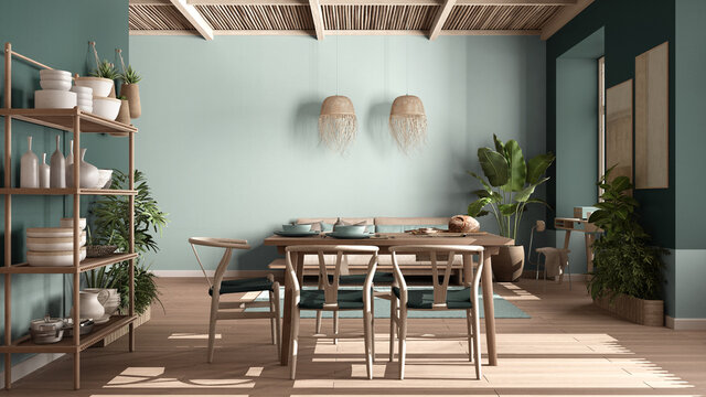Country living room, eco interior design in turquoise tones, sustainable parquet, dining table, chairs, wooden shelves and bamboo ceiling. Natural recyclable architecture concept