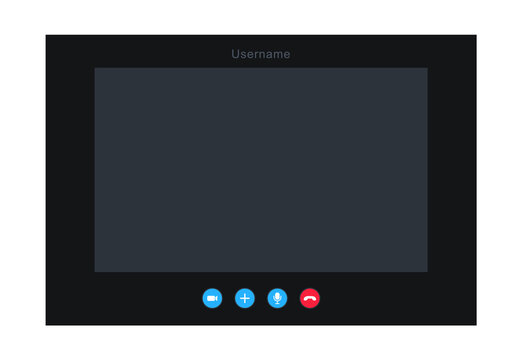 Video call screen. Video call window template. Video chat interface. App for communication in internet.