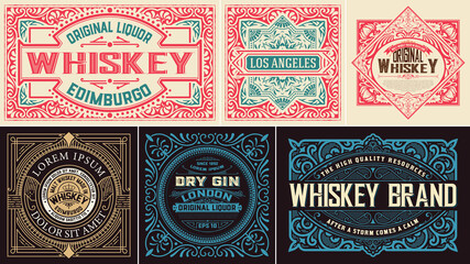 Set Whiskey labes. vector layered
