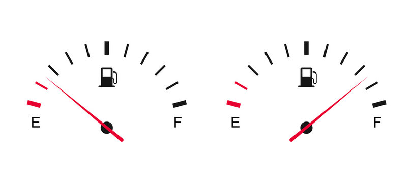 Fuel gauge. Fuel tank full and empty. Car dashboard. Gasoline meter.