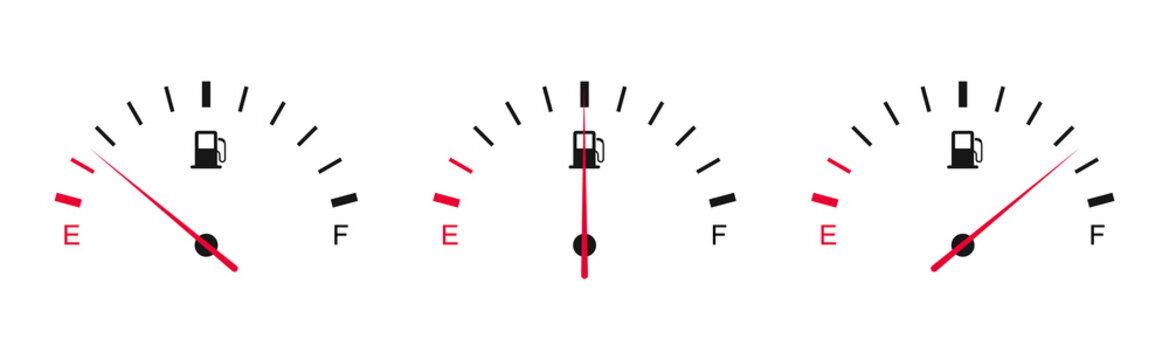 Fuel gauge. Car dashboard. Gasoline meter. Fuel indicator from empty tank to full.