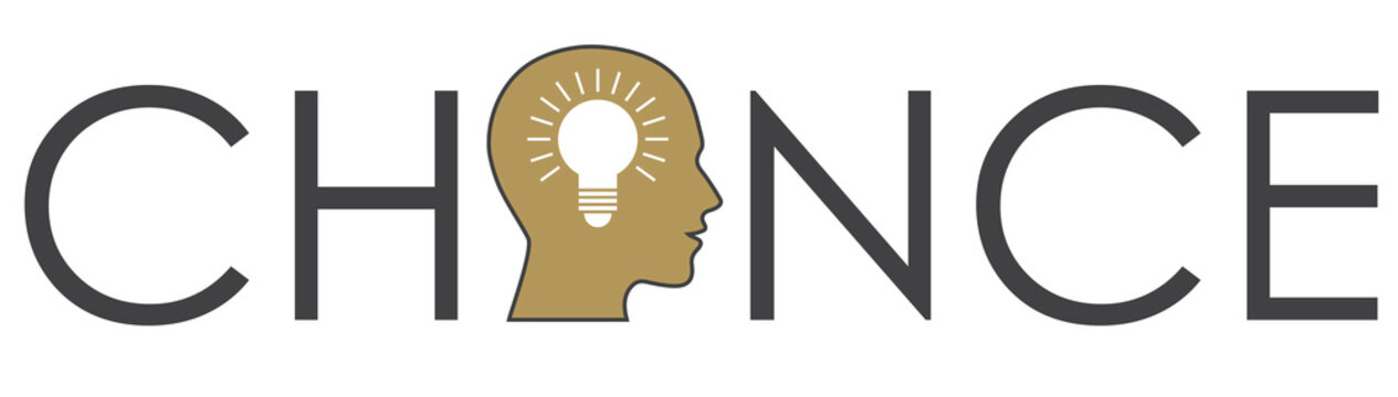 give ideas a chance, dark grey lettering with a human  head in gold  with a white bulb for business card, logo,  header or banner, vector illustration