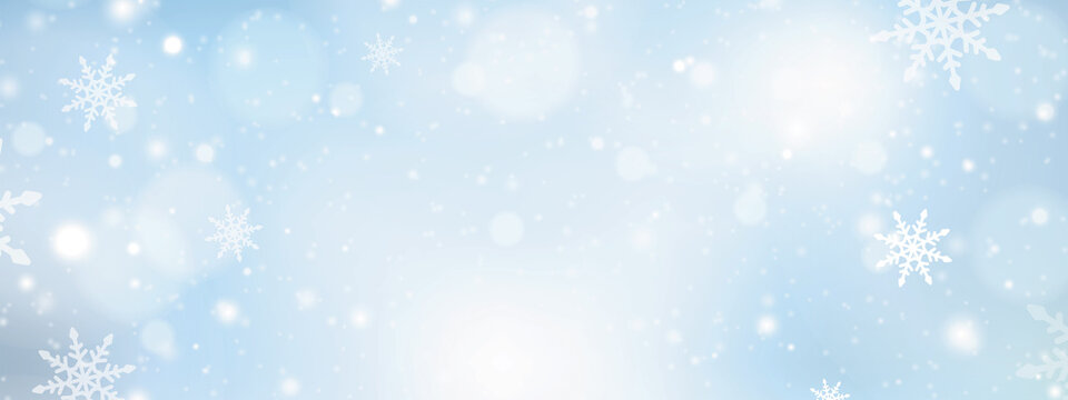 Winter blue sky with falling snow. Merry Christmas and Happy New Year festive background with snowflakes. Xmas design for advertising, social and fashion ads. Place for text. Vector illustration.