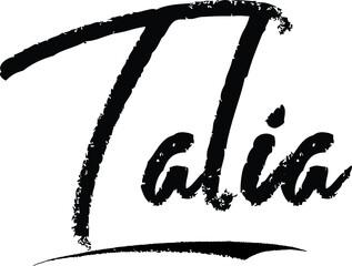 Fototapeta Talia Female name Modern Brush Calligraphy on White Background obraz