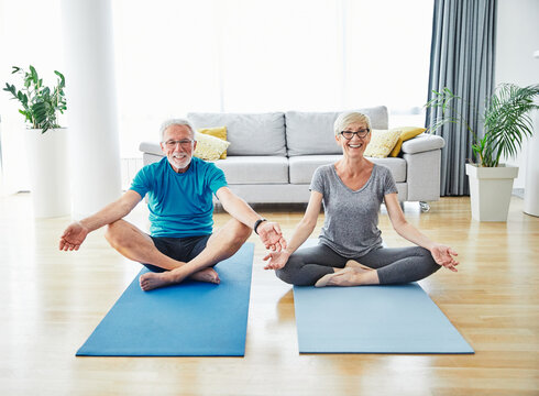 senior indoor exercise woman training lifestyle sport fitness home healthy gym exercising elderly fit health