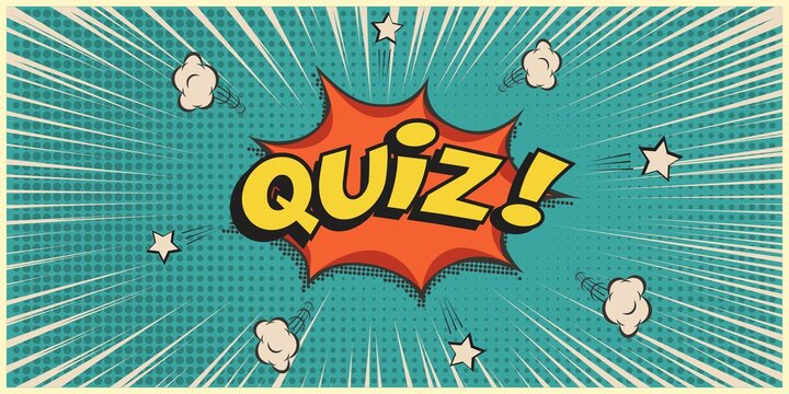 Quiz game show retro background. Vintage trivia night poster in pub. Marketing design vector illustration. Yellow text on blue background. Cartoon old banner for competition