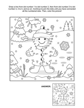 Gingerbread girl connect the dots puzzle and coloring page, activity sheet for kids. Numbers from 1 to 30. Answer included.