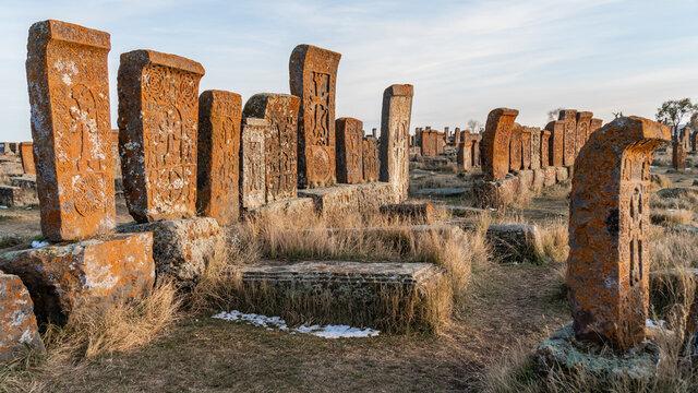 Tombstones called Khachkars on medieval Noratus cemetery