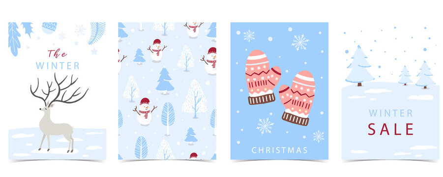 Collection of winter background set with tree,raindeer,snowman.Editable vector illustration for christmas invitation,postcard and website banner