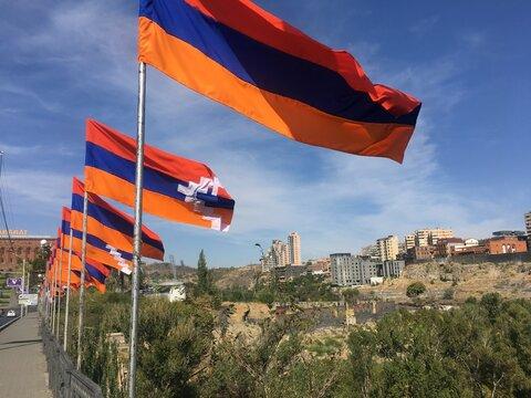 Armenia Yerevan, Victory bridge, 11 October 2020. National flags of Armenia and Artsakh Karabakh