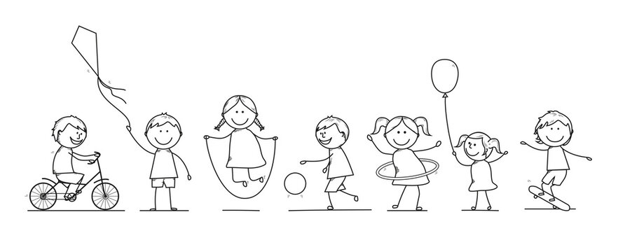 Enfants en train de jouer-dessin