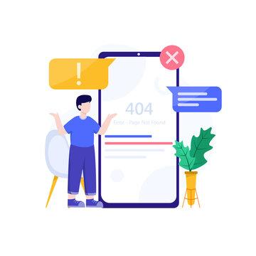 404 error, page not found, no internet connection conceptual design ilustration vector
