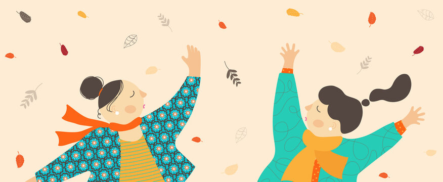 Vector illustration of two cute girls in autumn foliage.Flat design of funny characters.