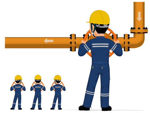 Isolated industrial worker is operate valve on white background.