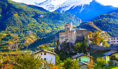 Impressive Alps mountains landscape, beautiful valley of castles and vineyards - Valle d'Aosta in northern Italy