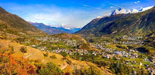 Impressive Alps mountains landscape, beautiful Valle d'Aosta in northern Italy. autumn scenery